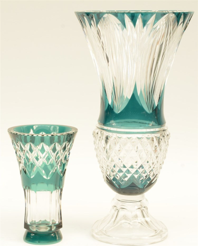 Two Val St. Lambert green cut to clear crystal vases, H 20 - 40,5 cm (one v