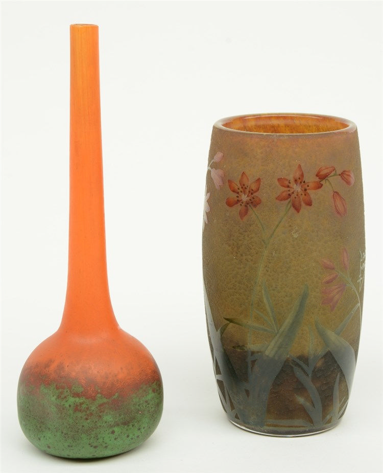 A floral decorated cameo glass art nouveau vase, marked Daum - France; adde