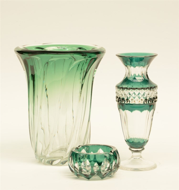 A Val St. Lambert green cut to clear crystal vase and ashtray; added a ditt