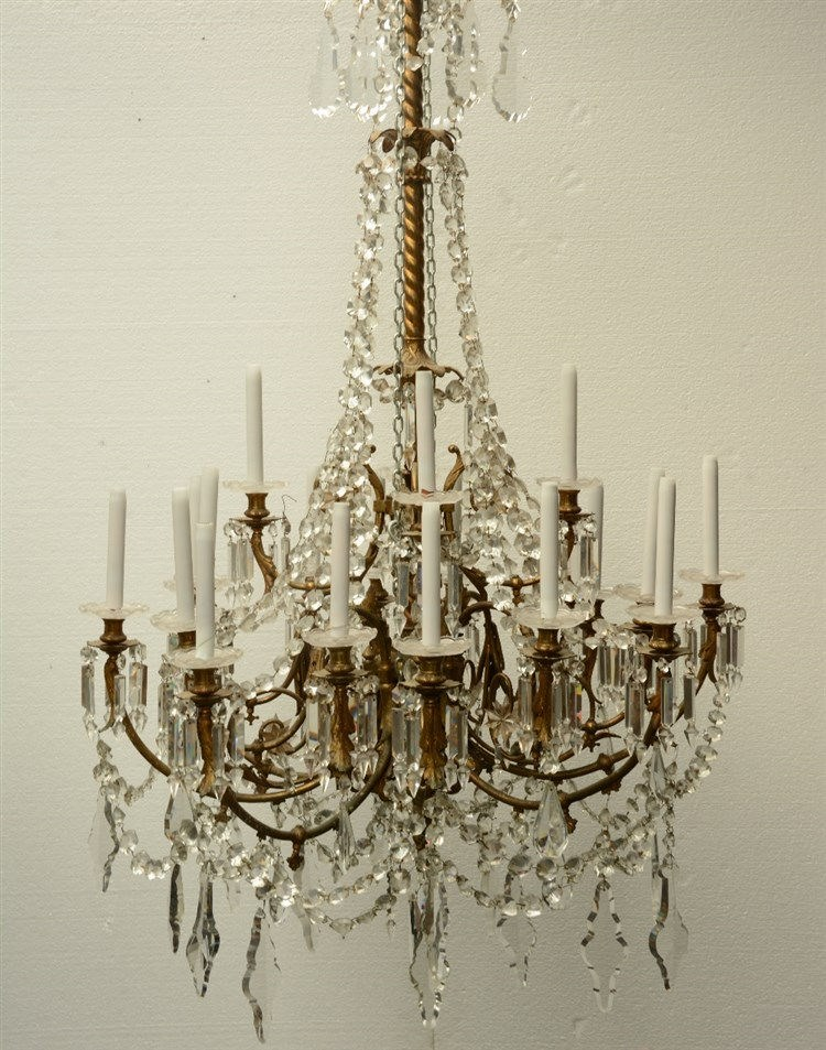 A crystal crown chandelier, H 95 - Diameter 60 cm