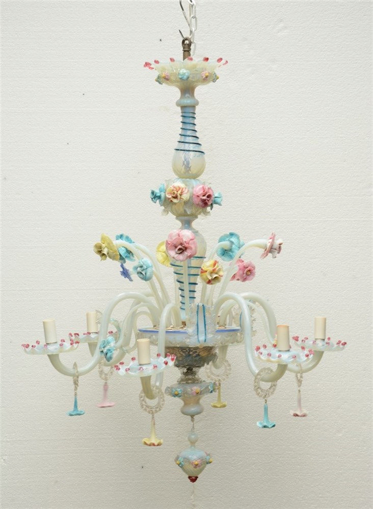 A Venetian polychrome glass six-light chandelier, H 116 - Diameter 89 cm