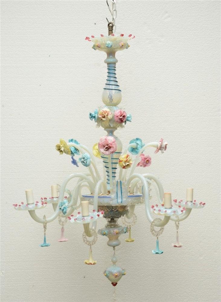A Venetian polychrome glass six-light chandelier, H 116 - Diameter 89 cm