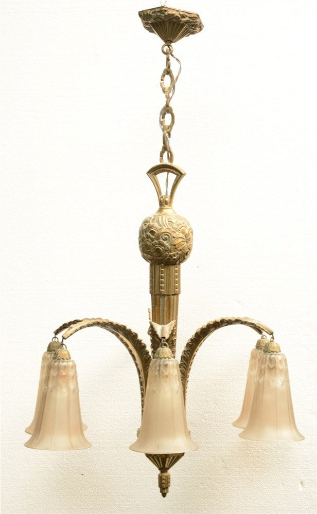 An Art Deco bronze chandelier with moulded glass sconces, floral decorated,