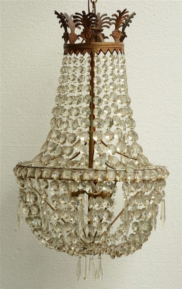 A 19thC sac à perles type chandelier,H 95 - Diameter 40 cm