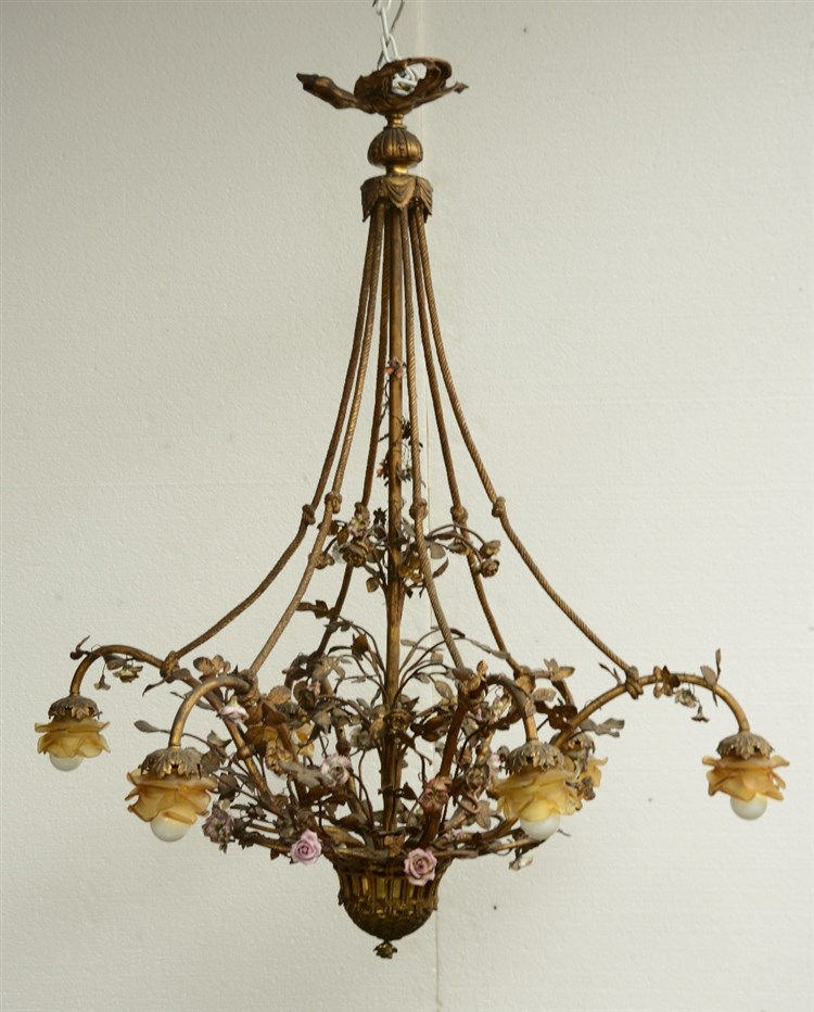 A gilt bronze chandelier, floral decorated, with moulded glass, H 114 - Dia