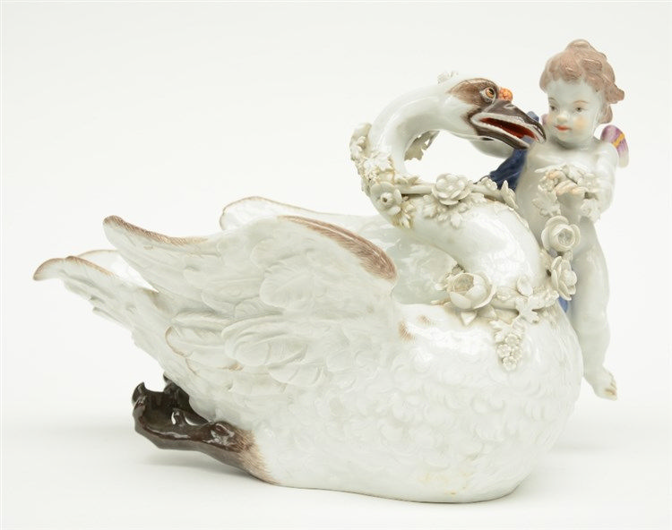A rare Meissen porcelain sauce boat, part of the well known 'Von Bruhl swan