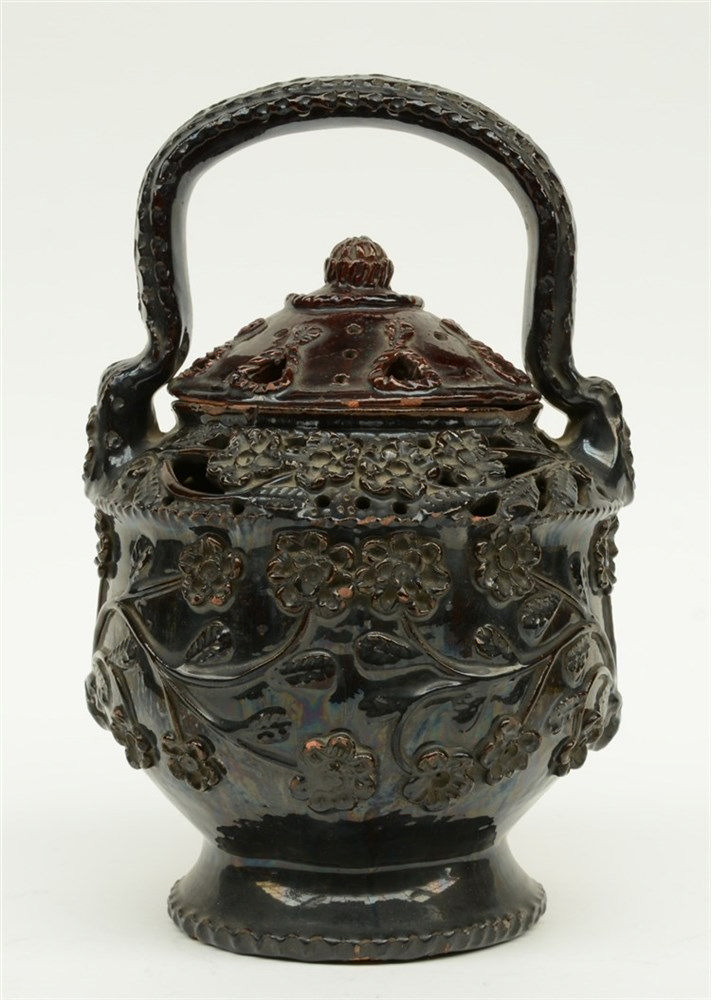 A typical Flemish or Northern France red earthenware fire basket, 18thC, 27