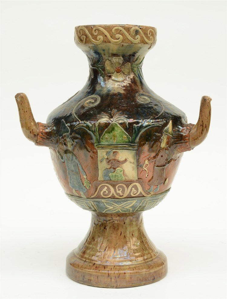 A typical Flemish earthenware late 19thC vase, 'Tevreden zijn in staat, kei
