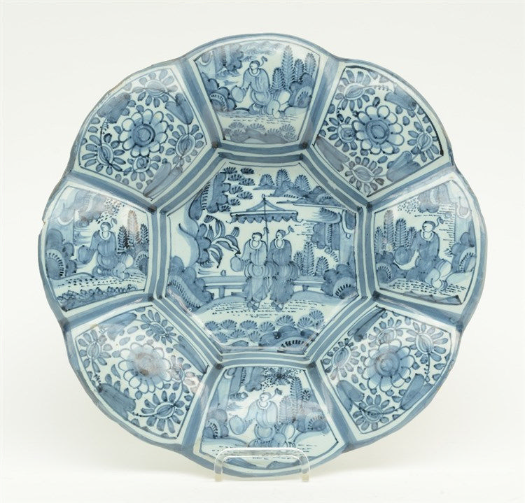 A 17thC in the Ming style blue and white decorated and lobed Dutch Delft ch