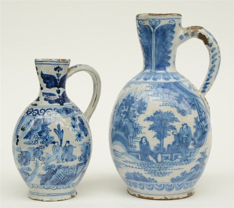 A 17thC blue and white Dutch Delftware jar; added a ditto 18thC jar, marked