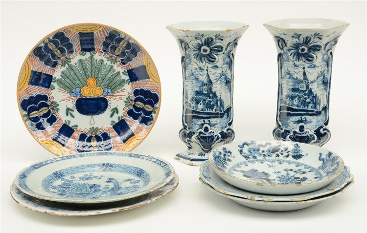 Various 18thC blue and white decorated Dutch Delftware dishes; added two di