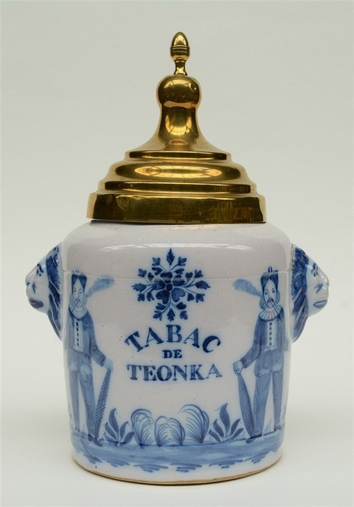 A 19thC blue and white decorated tobacco jar 'Tabac de Toenka', probably No
