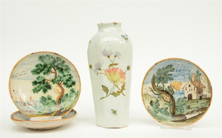 Three 18thC polychrome decorated majolica dishes; added an 18thC tin glazed
