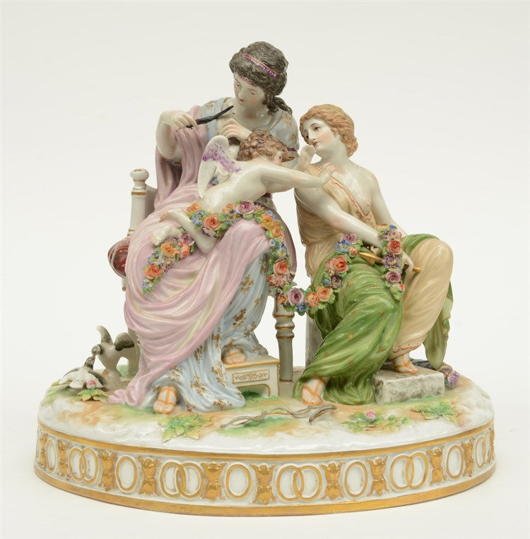 A Ludwigsburg porcelain marked mythological group, H 27 - W 29 - D 22 cm