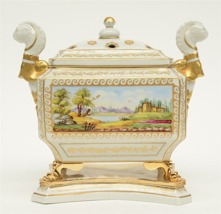 A Neoclassical polychrome decorated pot pourri, H 24,5 - W 20,5 - D 16cm