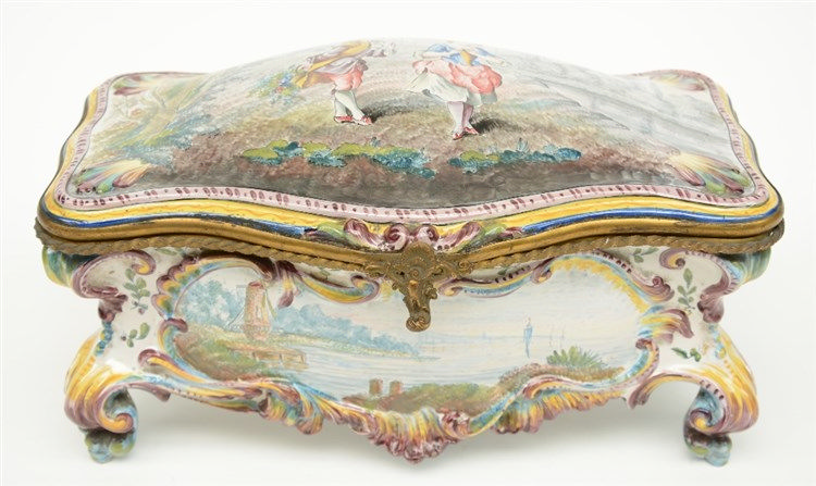 A 19thC Italian polychrome decorated earthenware Rococo style jewelry box,
