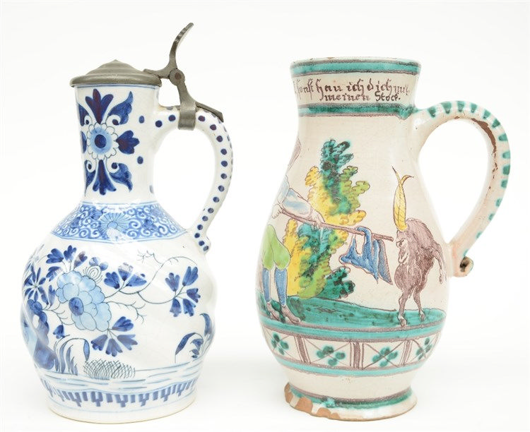 An 18thC German polychrome decorated jar; added a 19thC blue and white deco