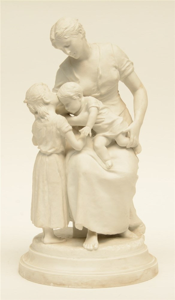 Levasseur H., a mother and her children, biscuit, (the base with rim chips)