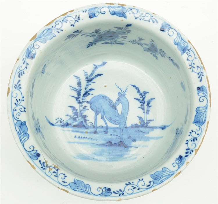 An 18thC tin glazed and blue and white decorated Dutch Delftware bowl, mark