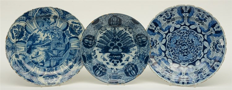 Three 18thC blue and white decorated Dutch Delftware plates: one in the Min