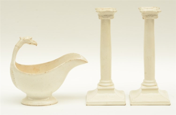 A late 18thC Boch Luxembourg neoclassical creamware sauce boat and a pair o