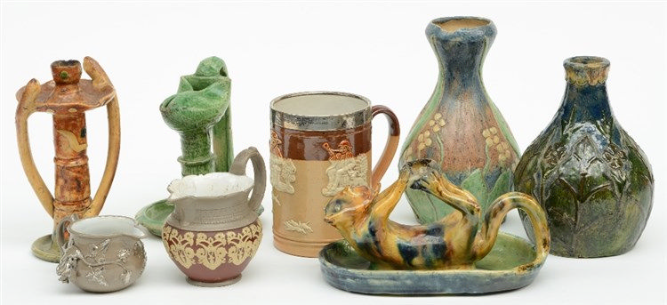 A lot of various items in typical Flemish earthenware; added two Boch - Lux