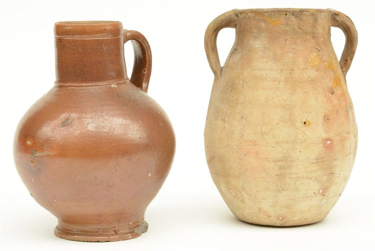 An 18thC brown glazed Frechen stoneware jug; added an earthenware jar, (16t