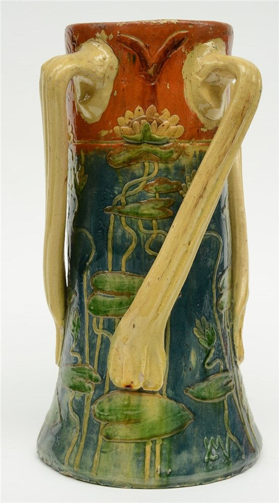 An Art Nouveau style vase in typical Flemish earthenware, marked L.M.V. (Le