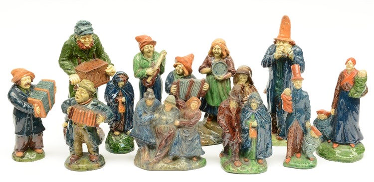 Various figures and groups in typical Flemish earthenware, most of them for