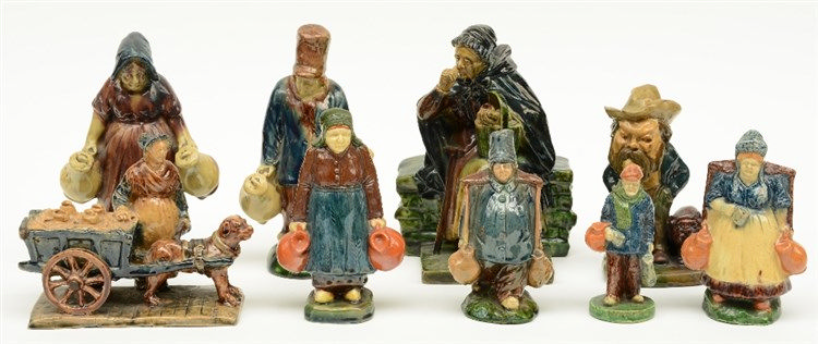 Various figures in typical Flemish earthenware, first quarter of the 20thC,