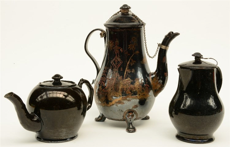 A rare 18thC typical (Namurois) (English?) coffeepot in black, glazed earth