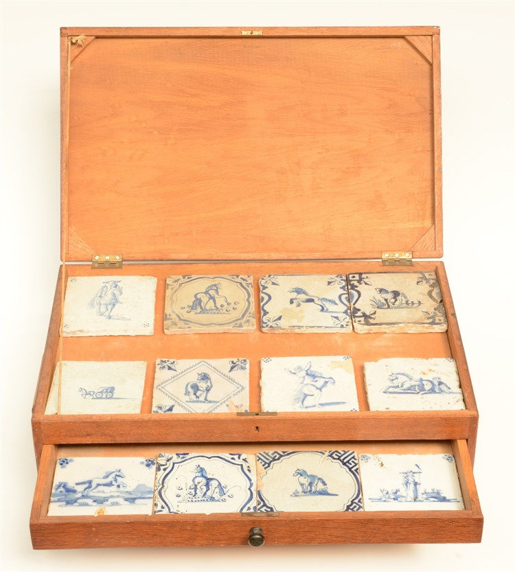 A fine collection of blue and white, manganese and polychrome decorated Del
