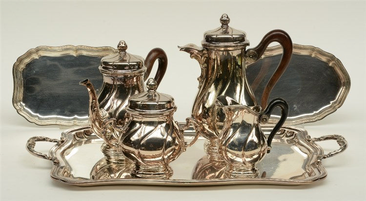 A five part plated tea and coffee set, 20thC, added two little ditto charge