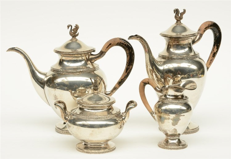 A silver coffee and tea set, 800/000, Belgium 1868 - 1942, makers' mark Deb