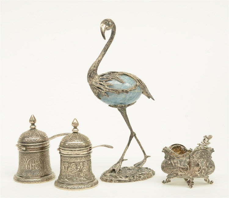 A charming lot of four silver items, marked, H 3,5 - 16 cm, Total weight: c