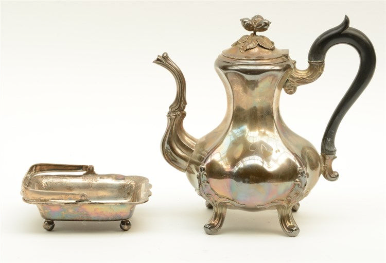 Late 19thC French silver coffeepot; added a 19thC silver dish, Swiss hallma