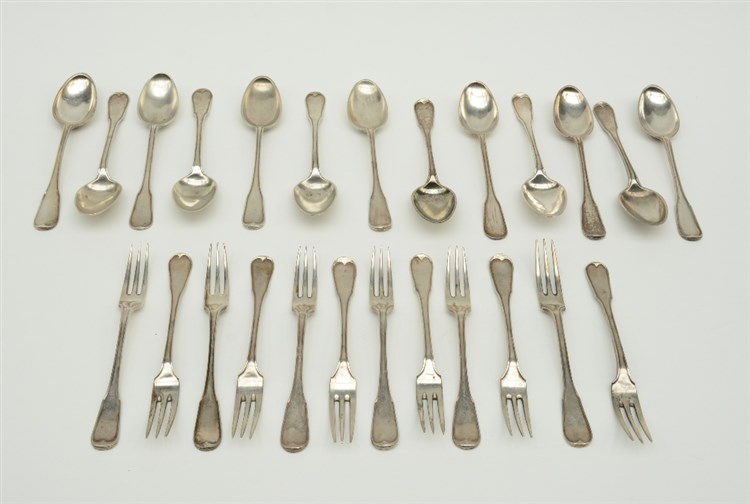 A twelve-part set 18thC silver dessert cutlery, Bruges hallmark (1786 - 179