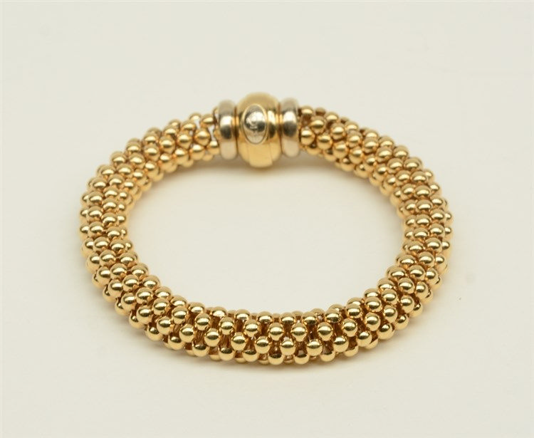 An 18ct woven gold bracelet, L 21 cm, Total weight: ca. 43 g