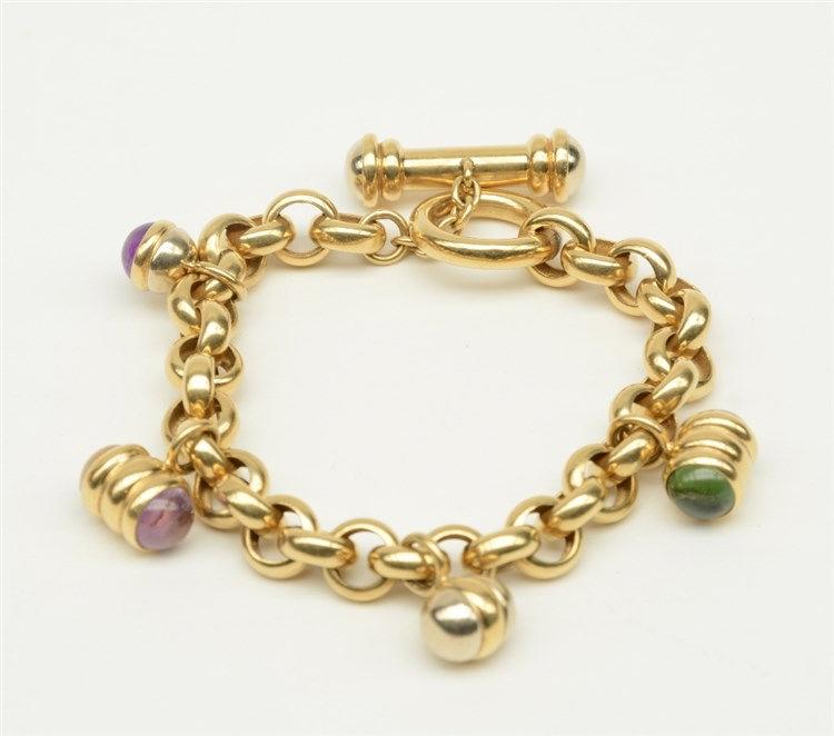 An 18ct gold bracelet, set with various semi-precious stones, L 21 cm, Tota