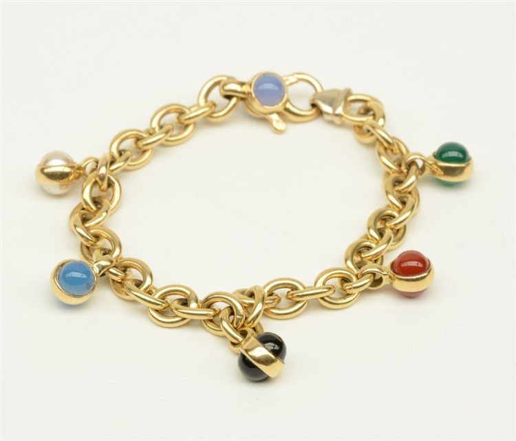 An 18ct gold bracelet, set with various semi-precious stones, L 18,5 cm, To