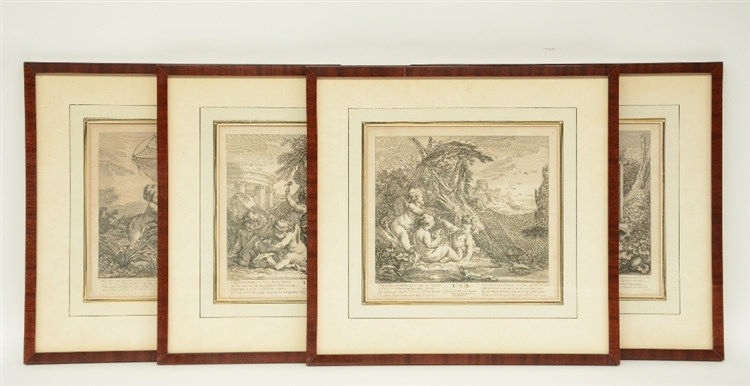Boucher Fr. (after), four 18thC engravings depicting an allegory of the fou