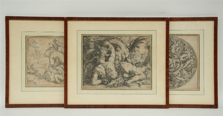 Goltzius H., three late 16th- early 17thC engravings depicting mythological