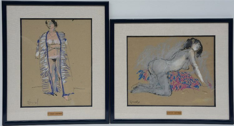 Vervisch G., two female nudes, Indian ink and pastel, 23 x 29 - 23 x 29 cm