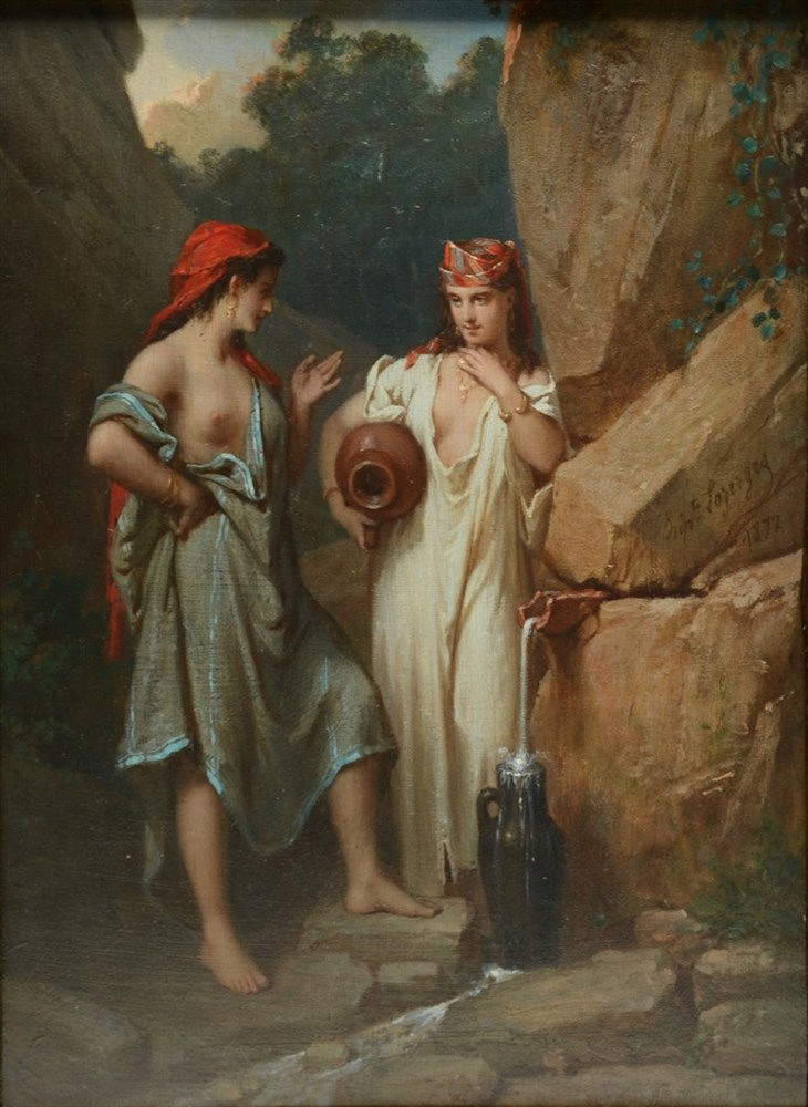Lazerges H., at the well, oil on canvas on panel, dated 1877, 24 x 34,5 cm