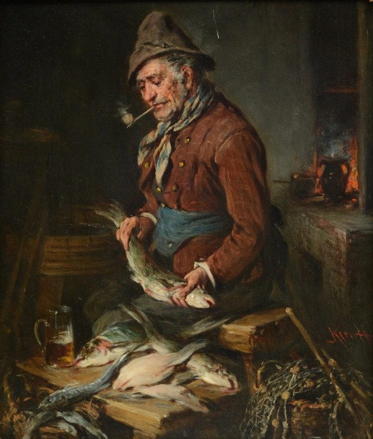 (Keruff?), 'Fischhändler', oil on panel, 19thC, 31,5 x 36,5 cm