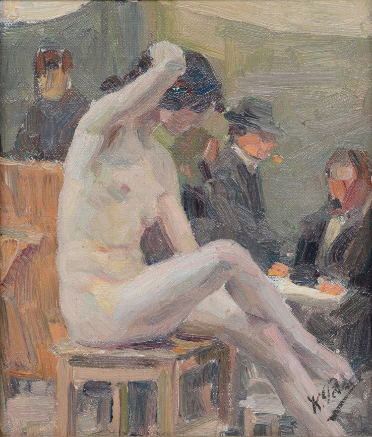 Peiser K., nude posing in a studio, oil on canvas on panel, 19 x 22,5 cm