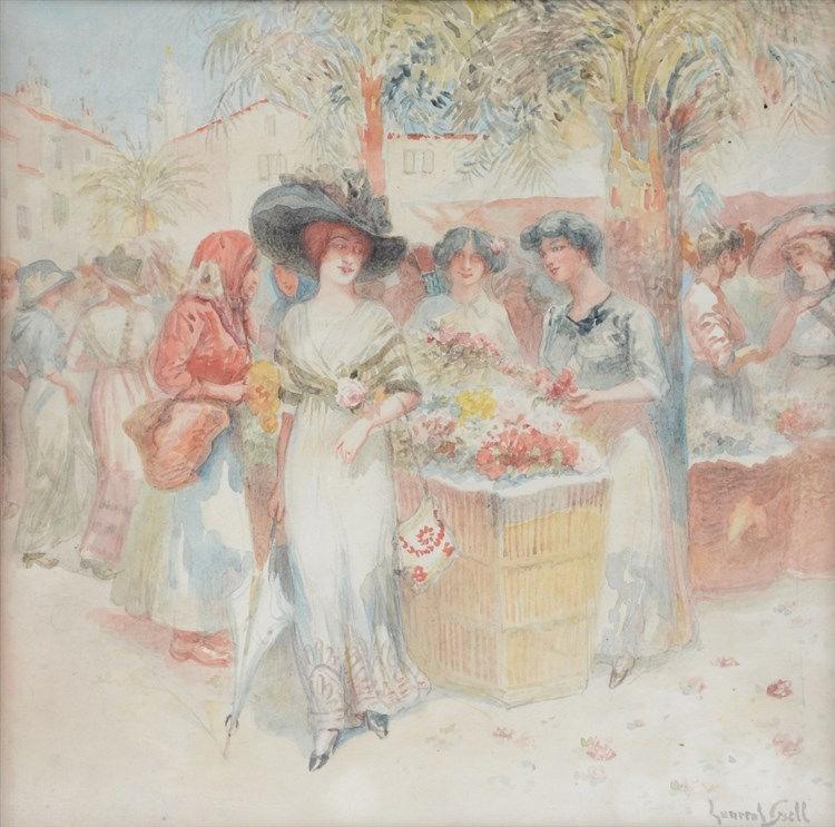 Gsell L., 'Marché aux fleurs de San Remo', watercolor, 27,5 x 27,5 cm