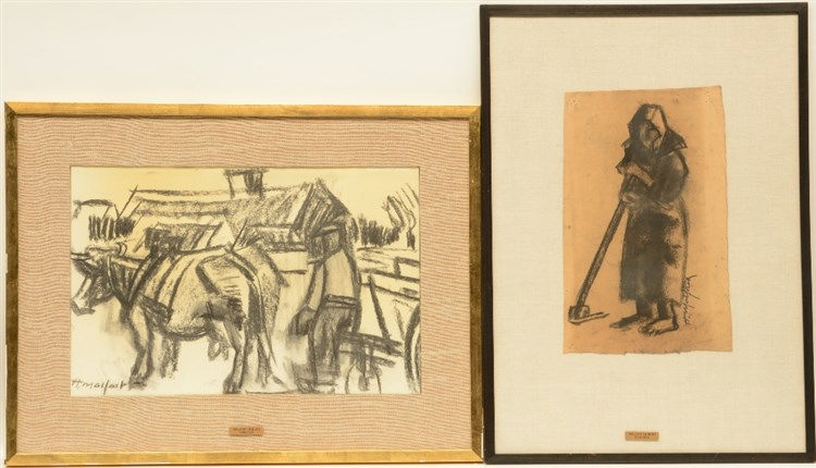 Malfait H., two charcoal drawings: one of an oxcart and one of a farmer, 25