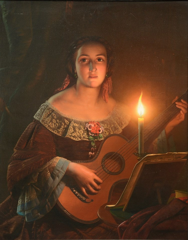 Unsigned (attr. to P. Van Schendel), a guitar playing girl in clair obscur,