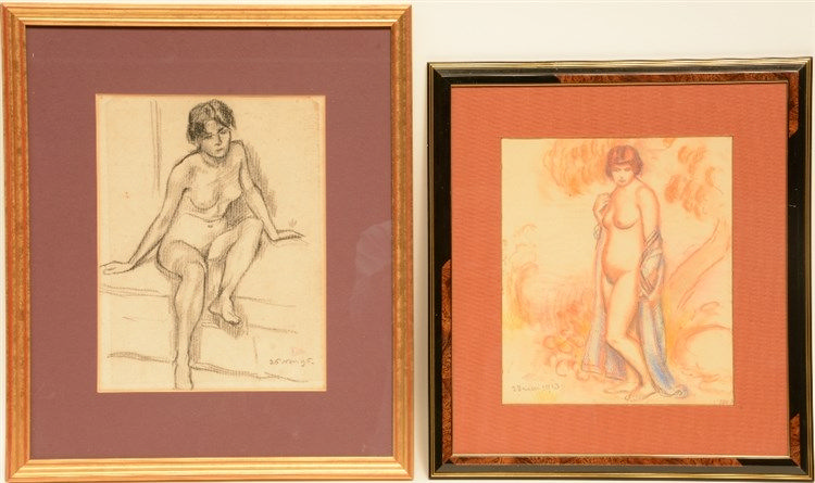 Lemmen G., two female nudes, one pastel and one drawing with Conté crayons,